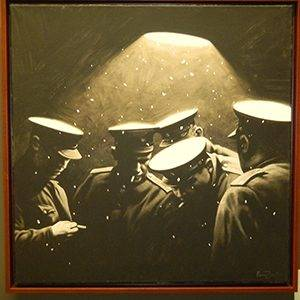 Painting of group of soldiers huddling together