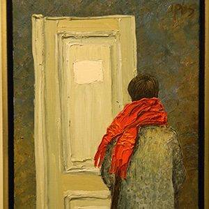 Painting of boy with red scarf in front of a door