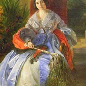 Painting of woman by Brullov
