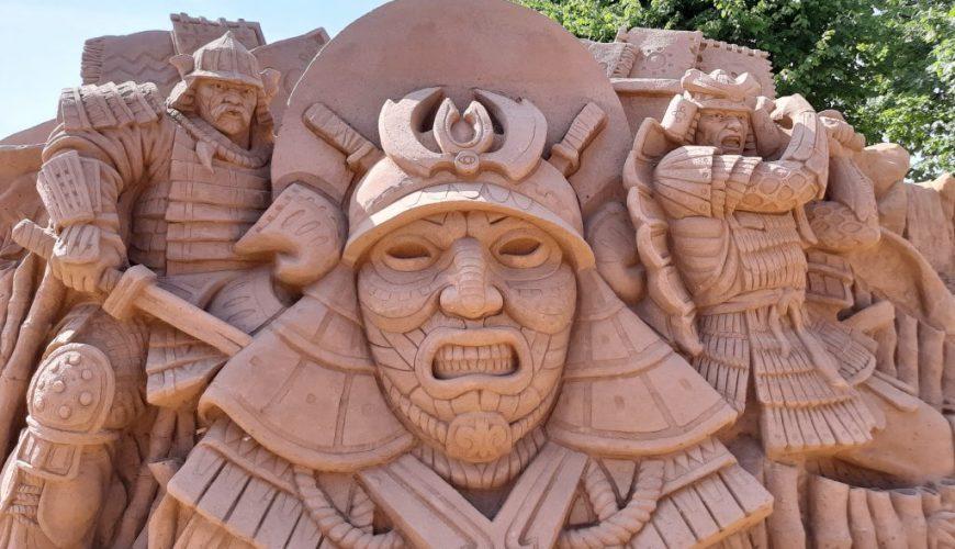 sand sculpture of samurai