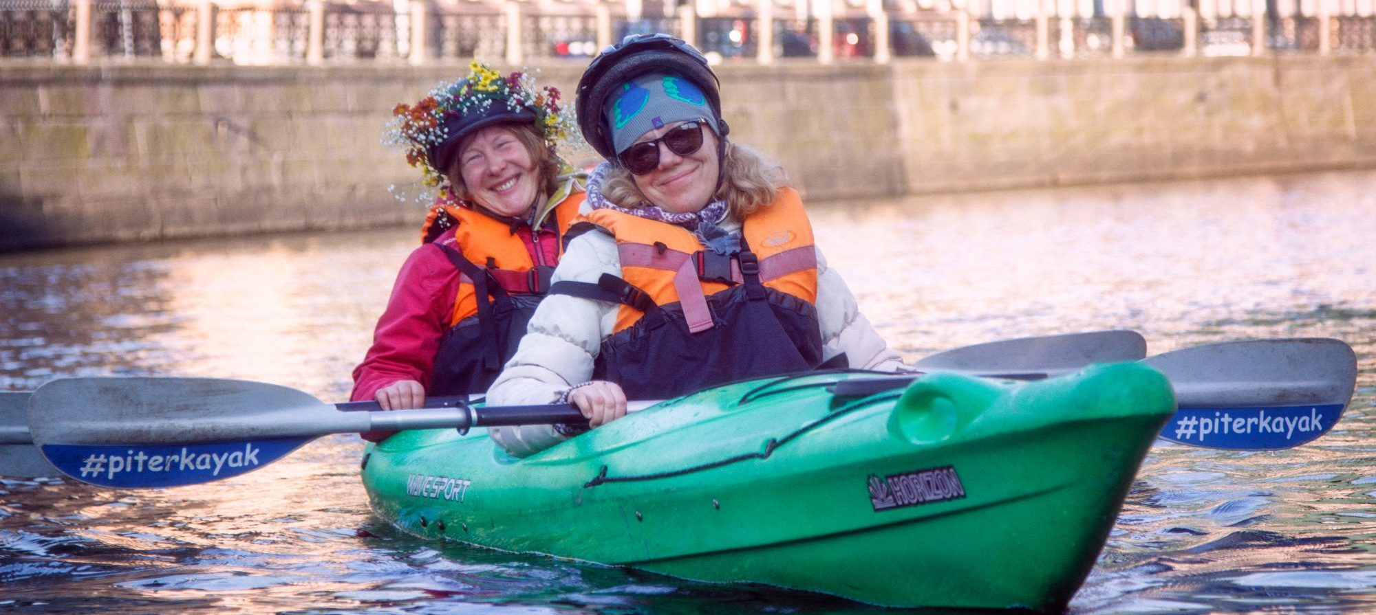 2 women kayaking